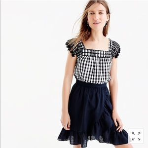 J Crew Embroidered Gingham Tassel Top sz 4